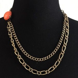 Vintage style gold chain orange Lucite necklace